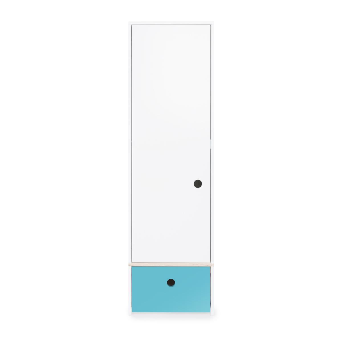Armoire 1 porte façade tiroir bleu paradis