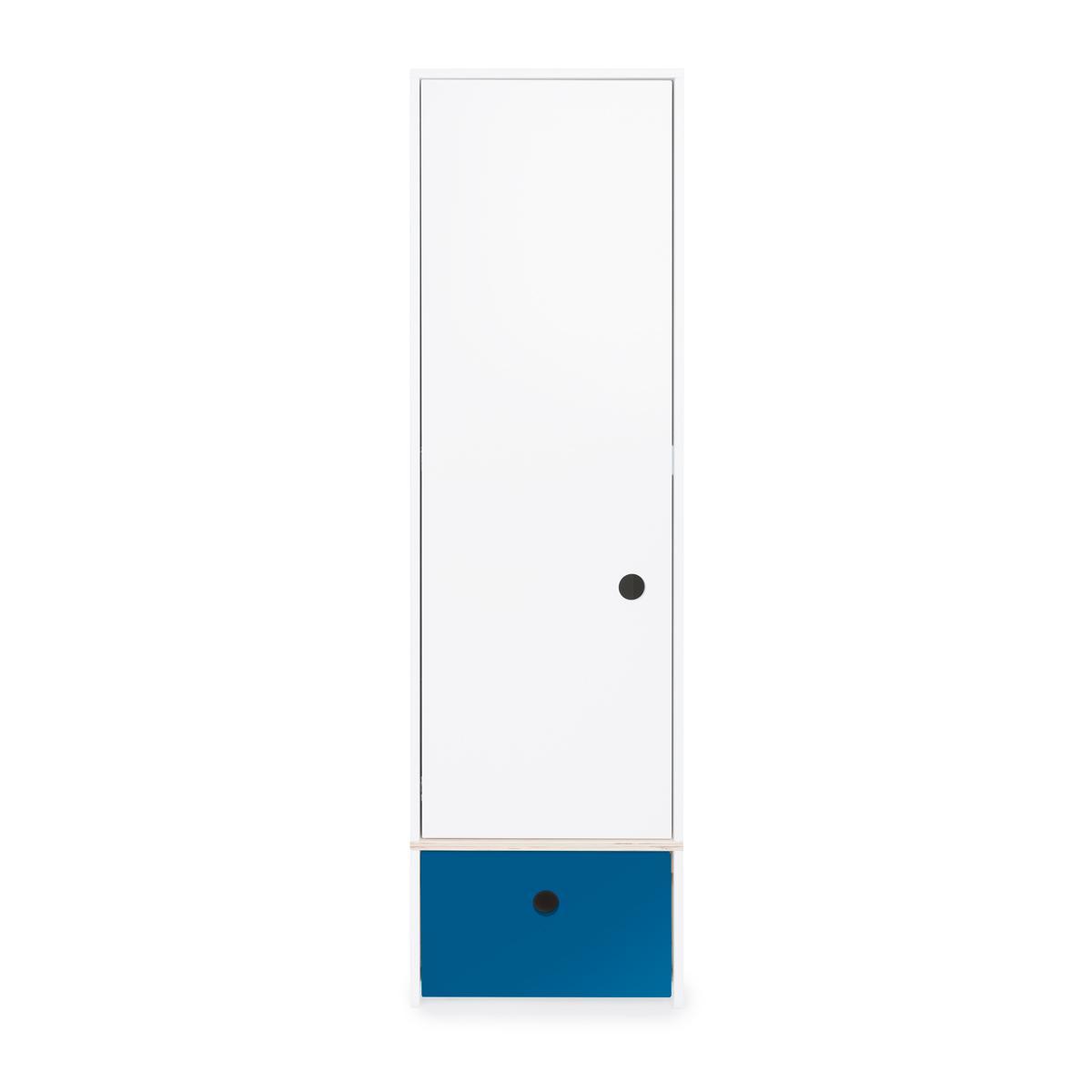 Armoire 1 porte façade tiroir bleu marine