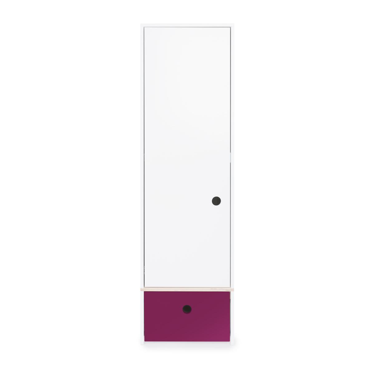 Armoire 1 porte façade tiroir prune
