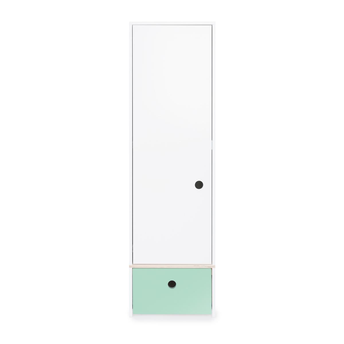 Armoire 1 porte façade tiroir vert menthe