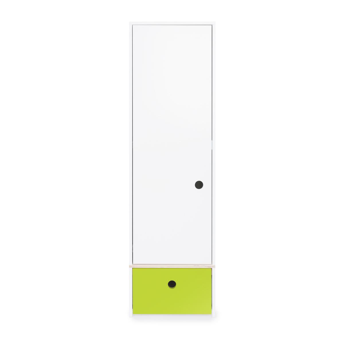 Armoire 1 porte façade tiroir citron vert