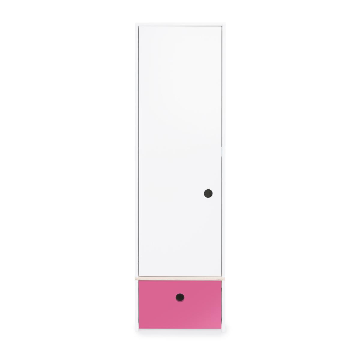 Armoire 1 porte façade tiroir fushia