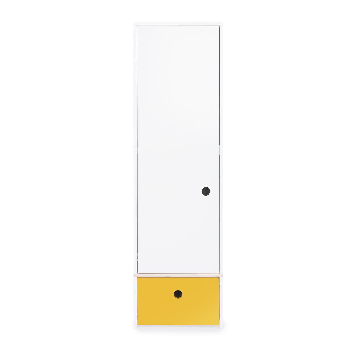 Armoire 1 porte façade tiroir jaune