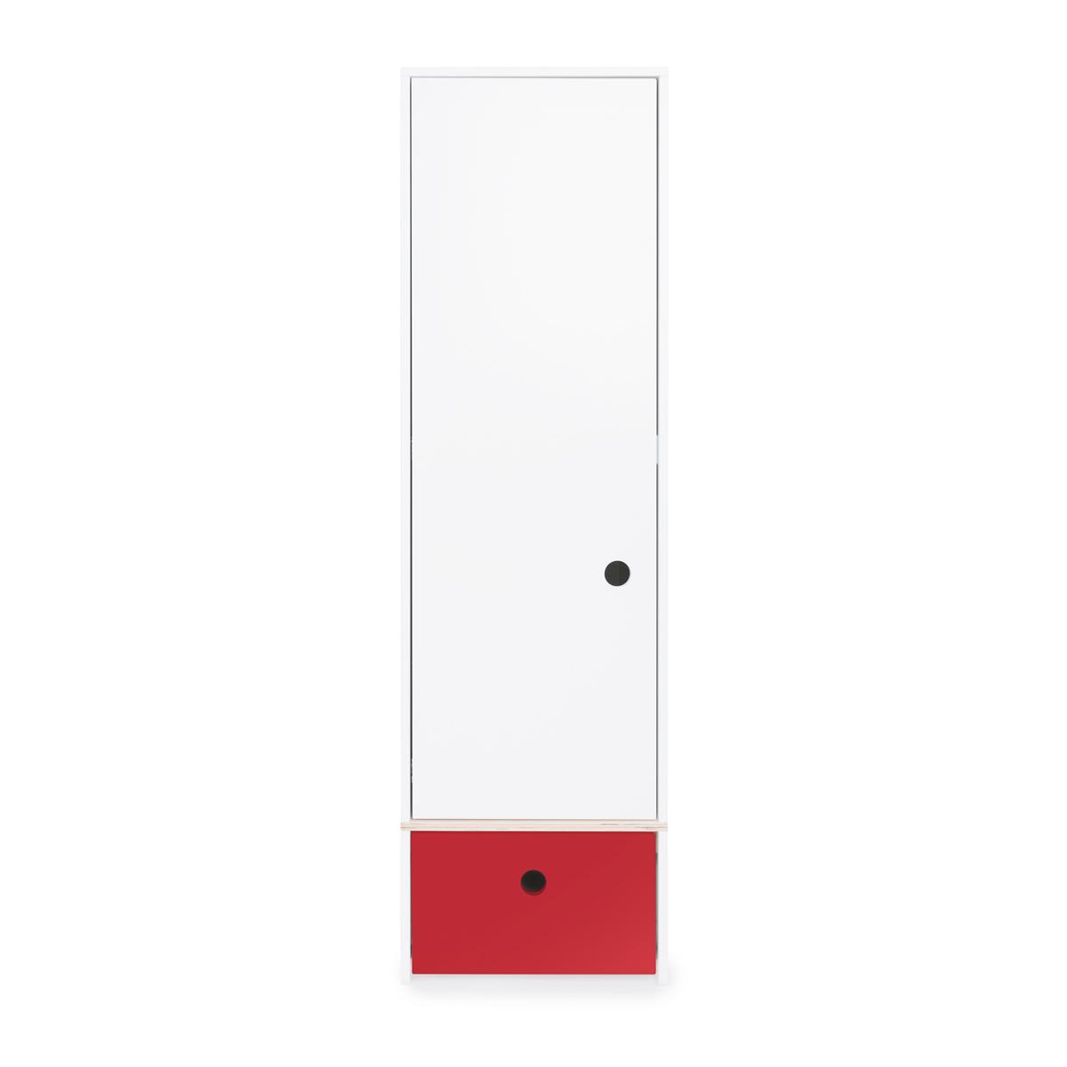 Armoire 1 porte façade tiroir rouge