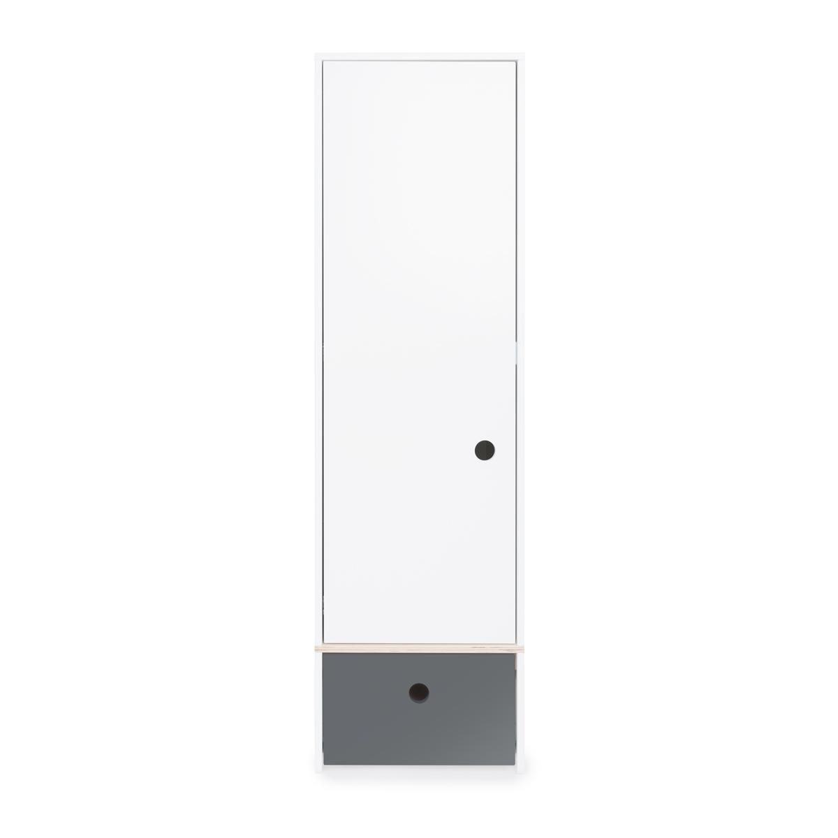 Armoire 1 porte façade tiroir gris espace