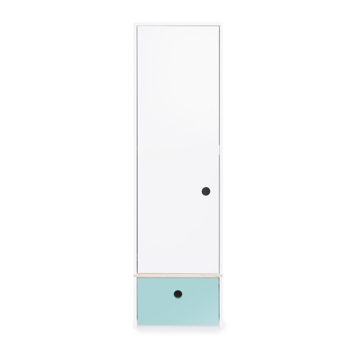 Armoire 1 porte façade tiroir bleu ciel