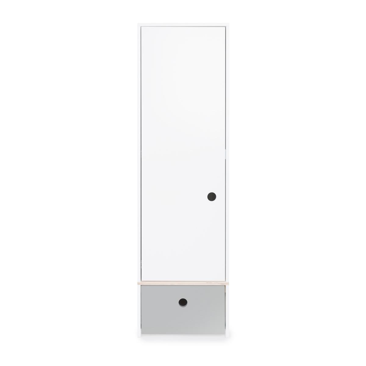 Armoire 1 porte façade tiroir gris perle