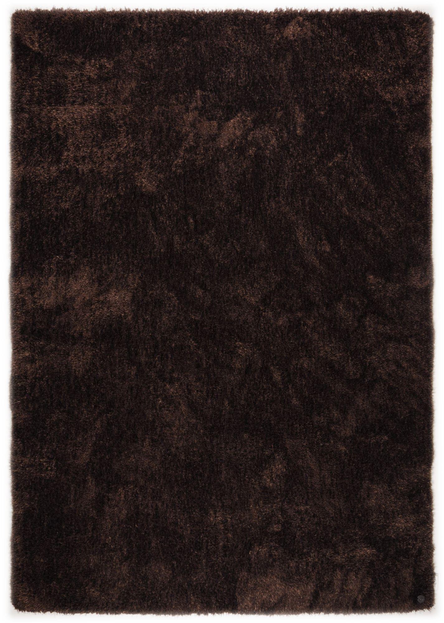 Tapis brilliant shaggy - à  longs poils - épais - Chocolat 50x80