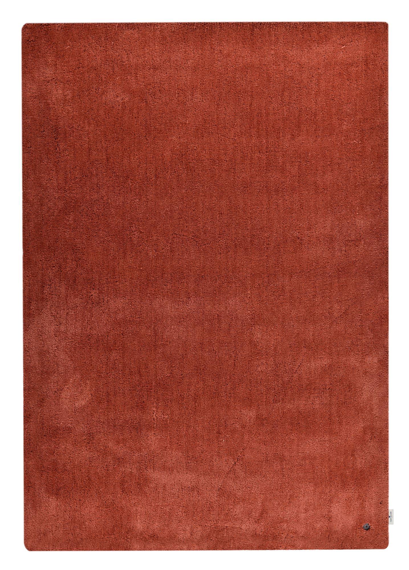 Tapis shaggy - tufté à la main - en polyester - rouille 65x135 cm