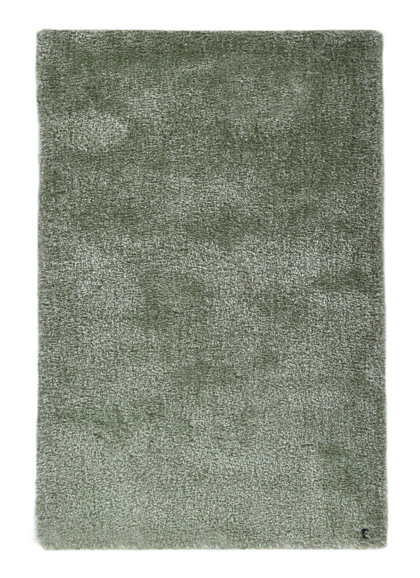 Tapis brilliant shaggy - à  longs poils - épais - Vert clair 50x80