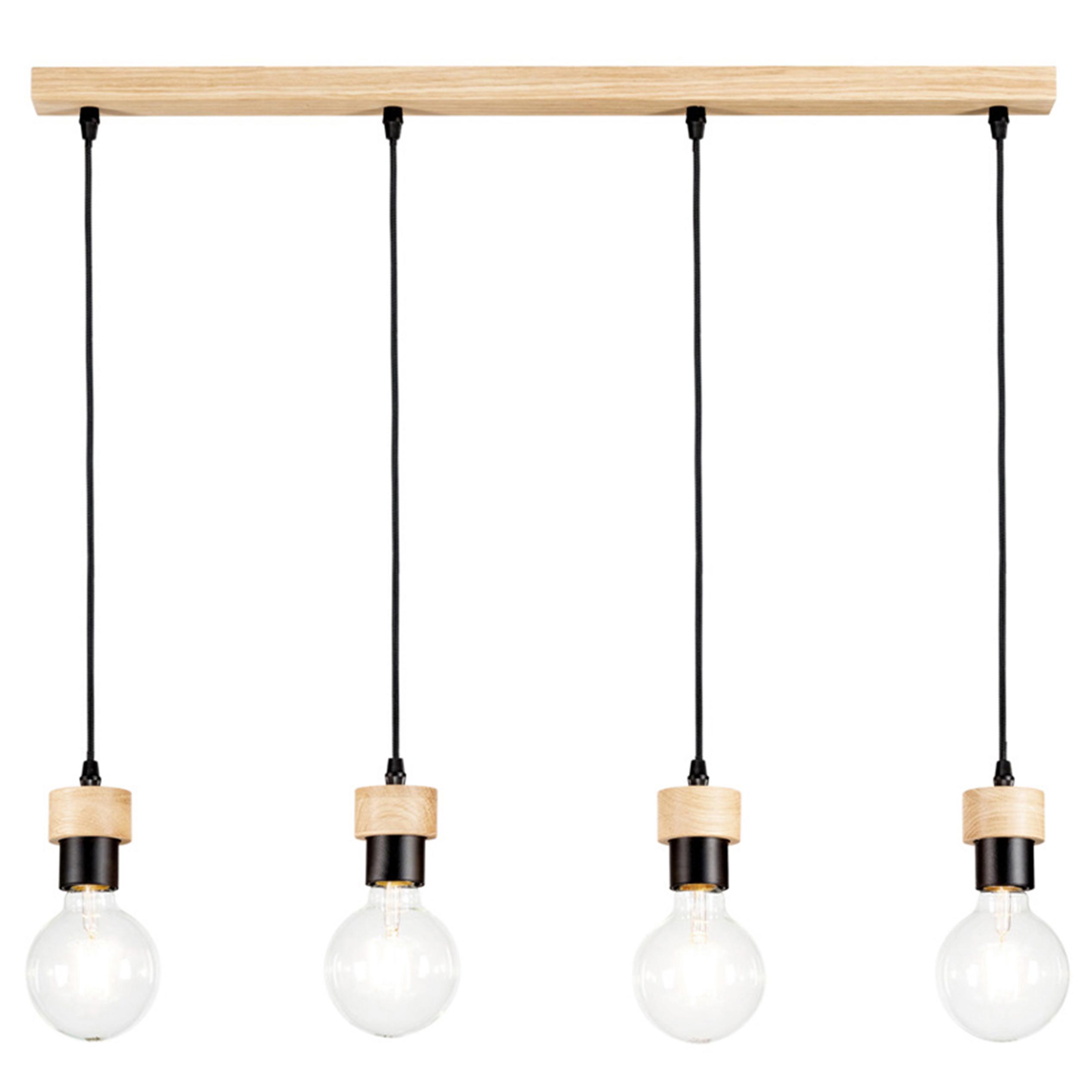Suspension en bois 4 ampoules
