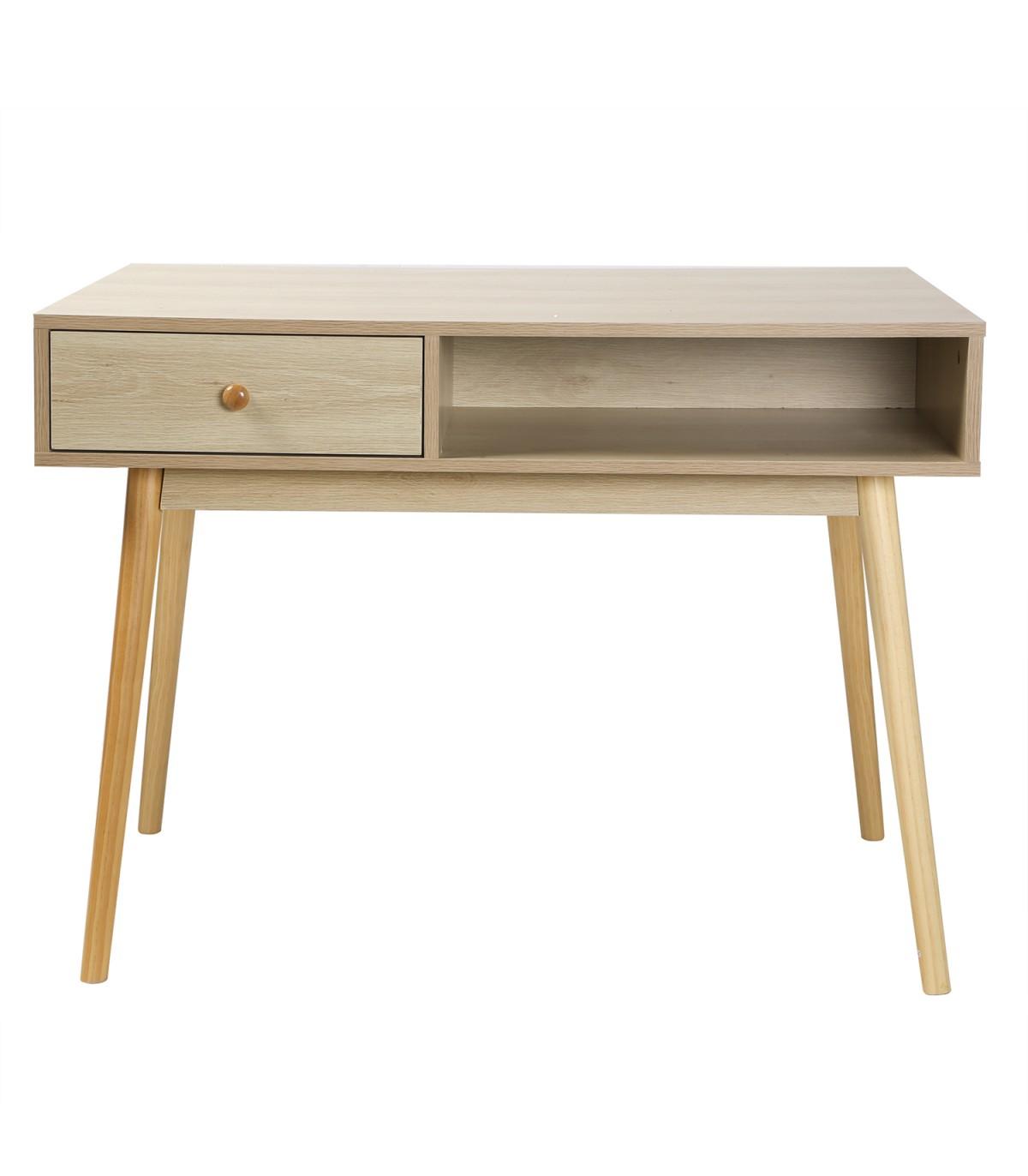 Bureau 1 tiroir 1 casier décor bois clair -  L 100 cm