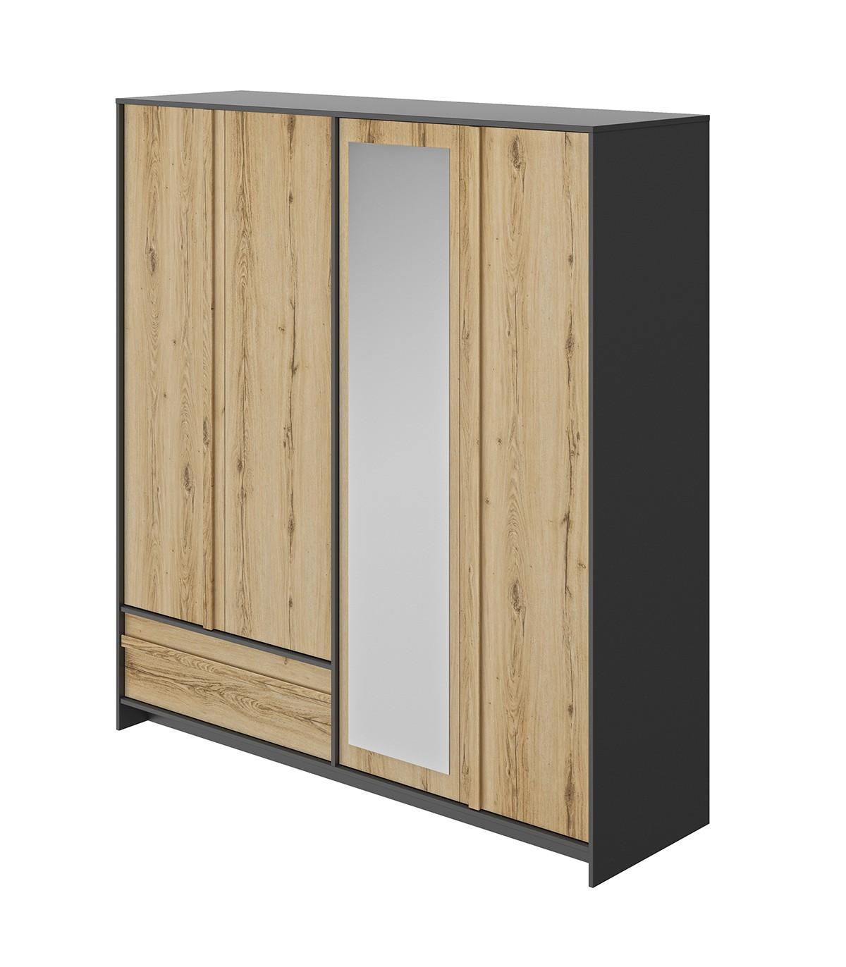 Armoire 4 portes et 1 tiroir L197 cm - Décor chêne et noir