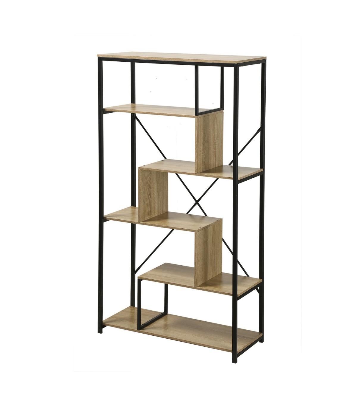 Bibliothèque avec étagères 6 niveaux H160 cm - Marron