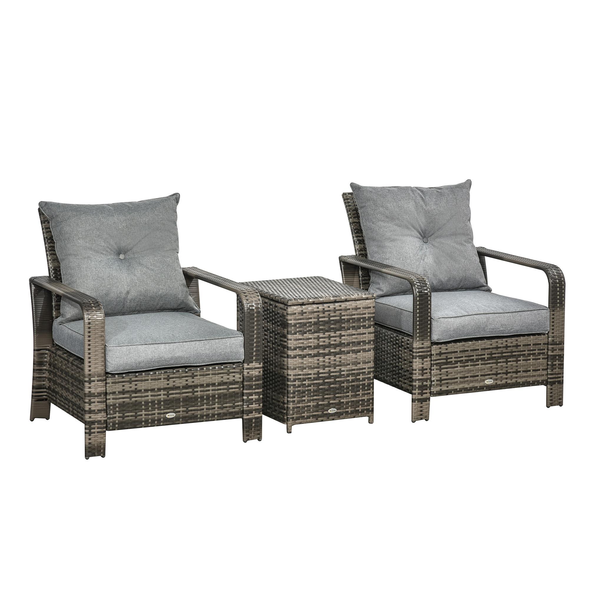 Ensemble de 2 fauteuils de jardin avec table basse coffre résine gris