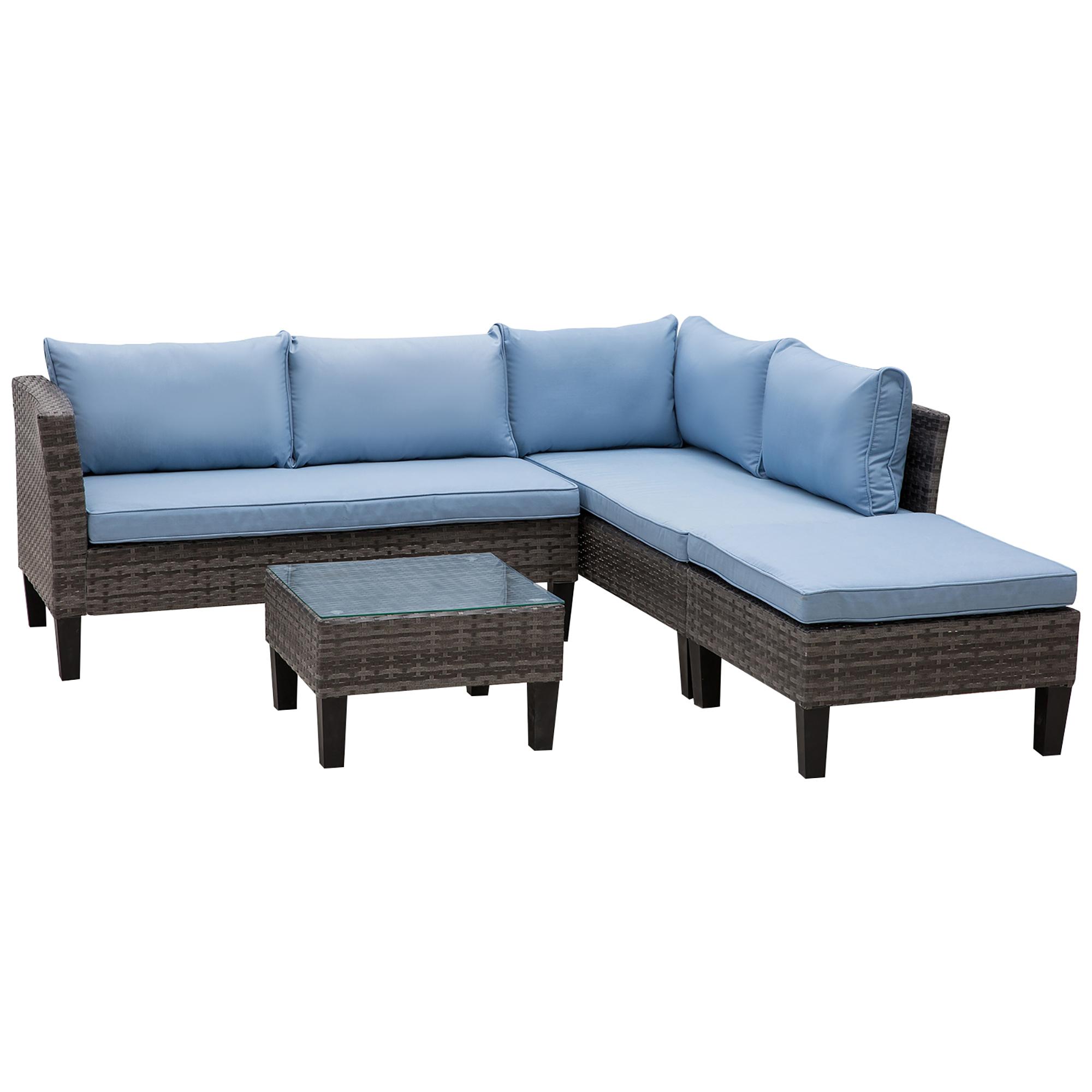 Ensemble salon de jardin 4 places 3 pièces gris bleu