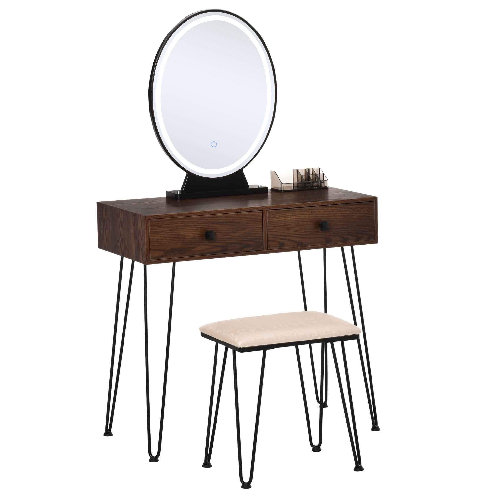 Coiffeuse design 2 tiroirs organisateur miroir LED tabouret inclus