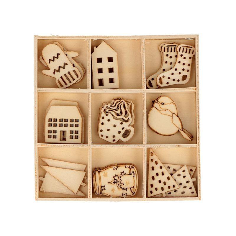 27 mini décorations en bois cosy