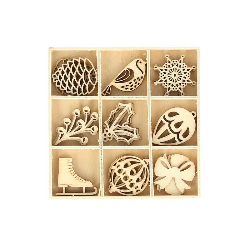 27 mini décorations en bois hiver