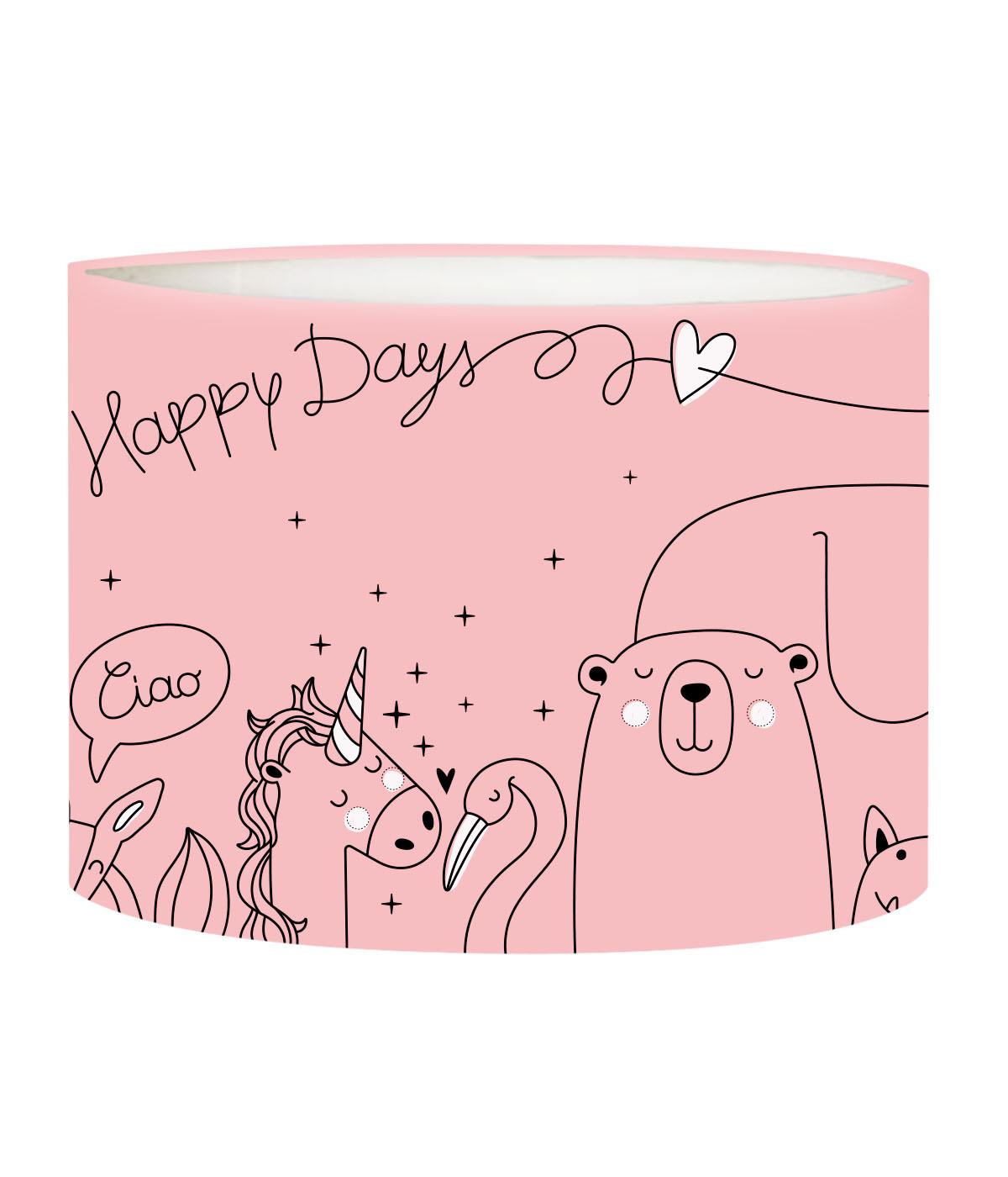 Abat-jour lampadaire enfant Happydays Rose Doux D 45 x H 25