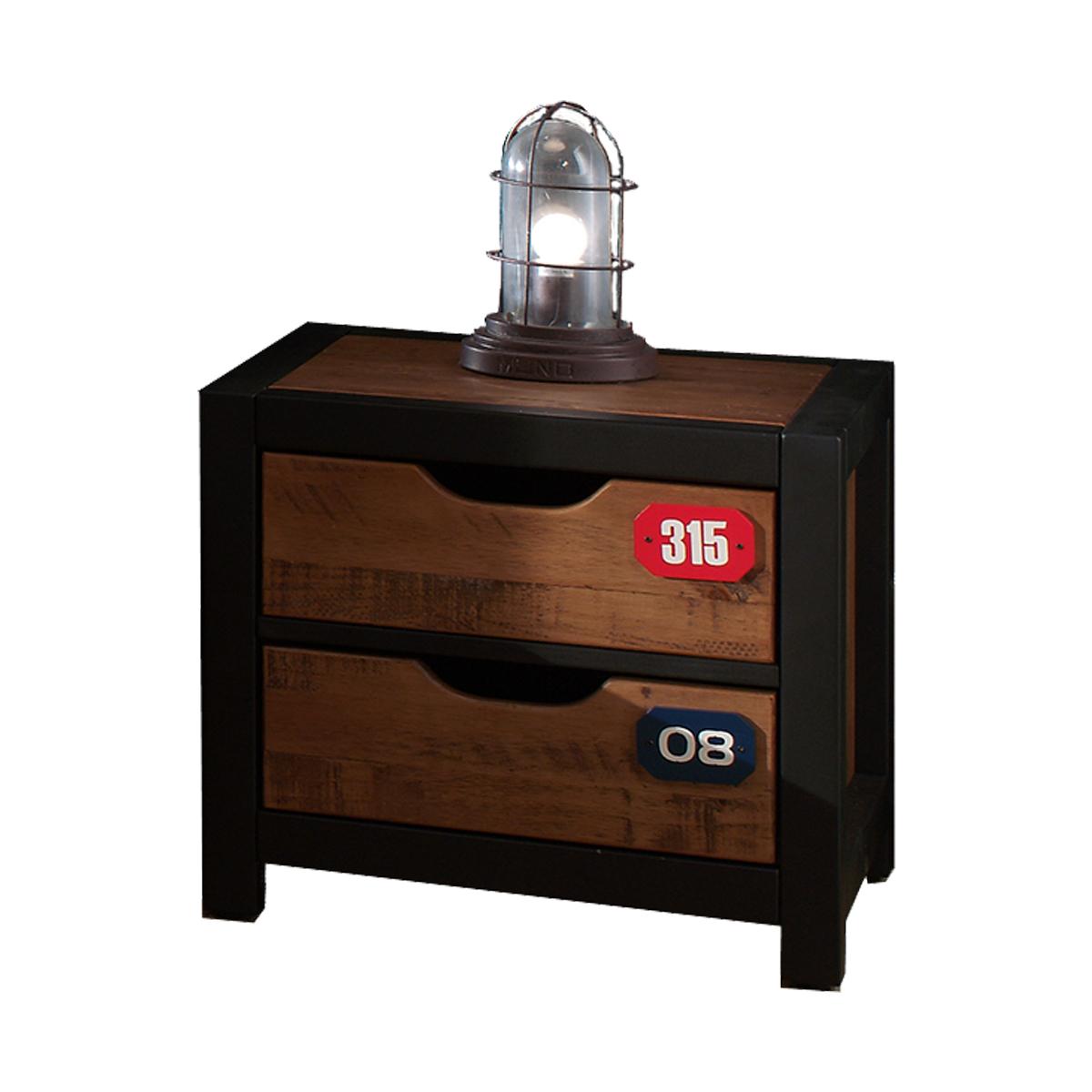 Chevet 2 tiroirs noir bois
