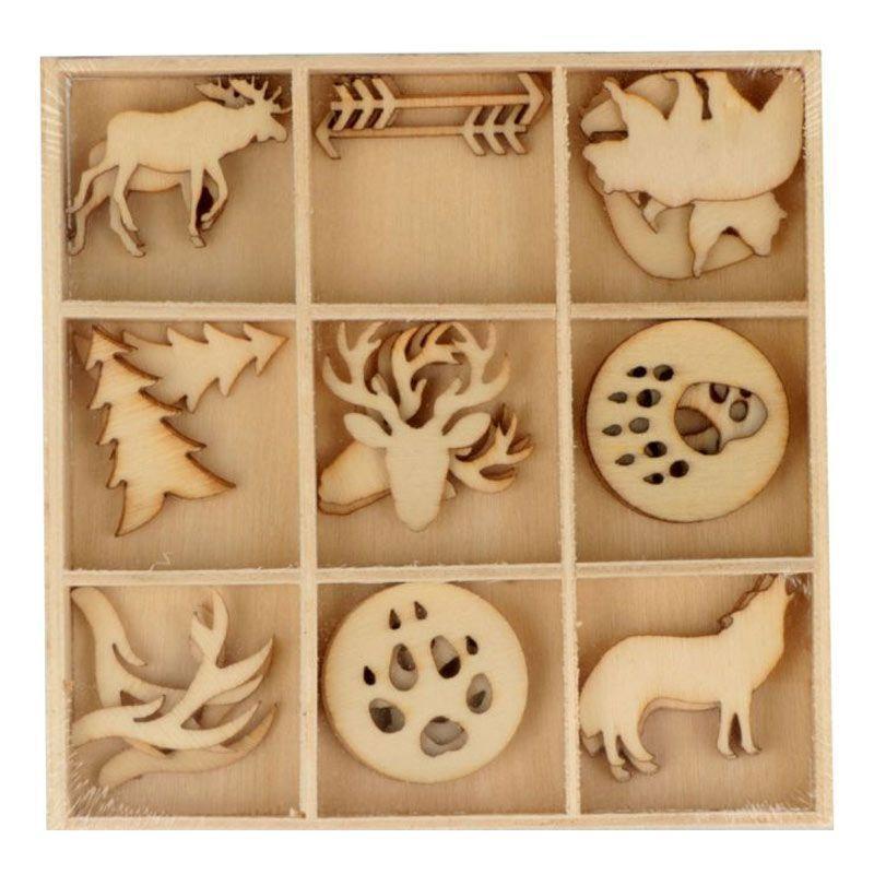 27 mini décorations en bois animaux de la forêt