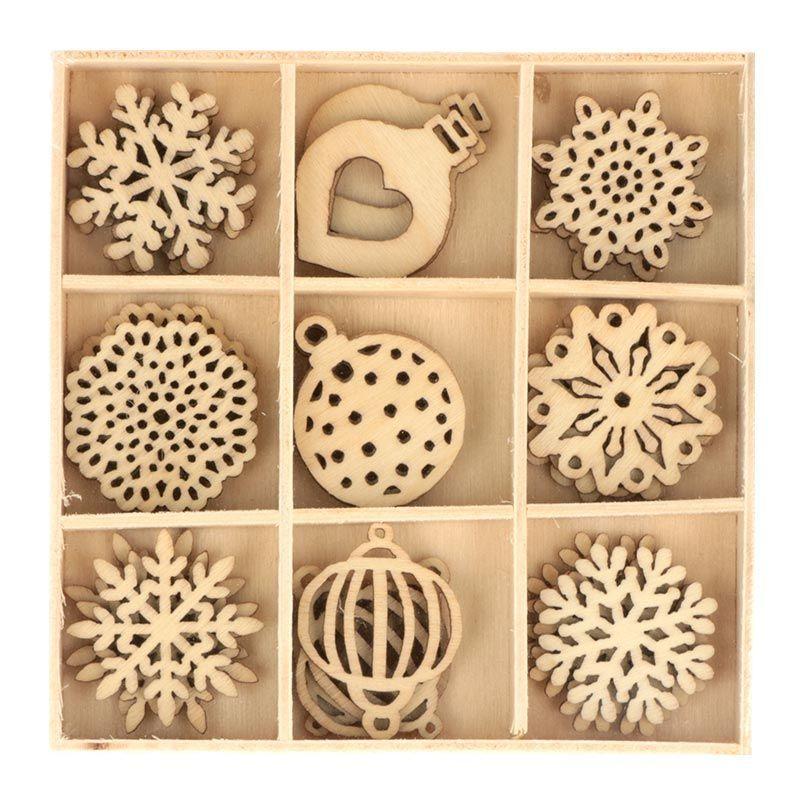 27 mini décorations en bois flocons