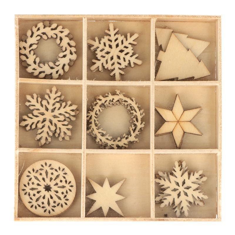 27 mini décorations en bois Merry Christmas