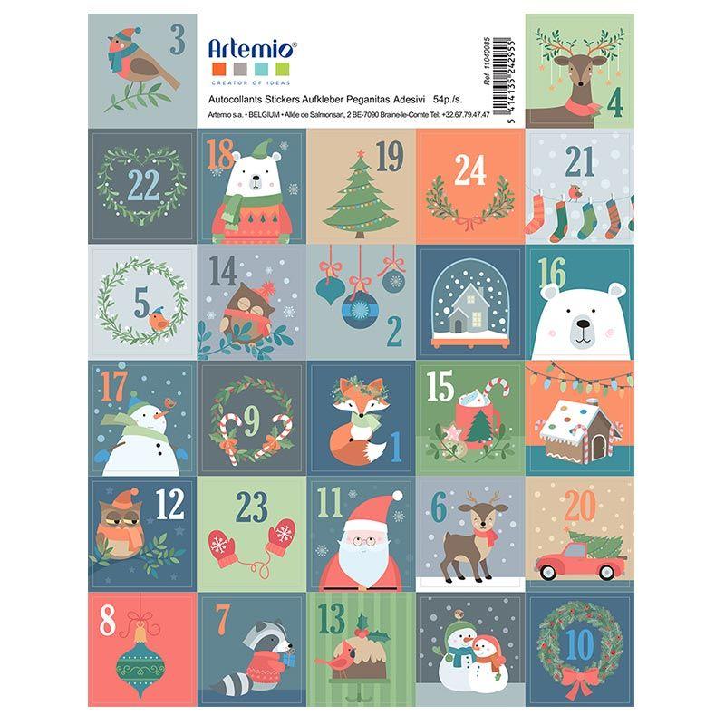 27 stickers timbres de Noël