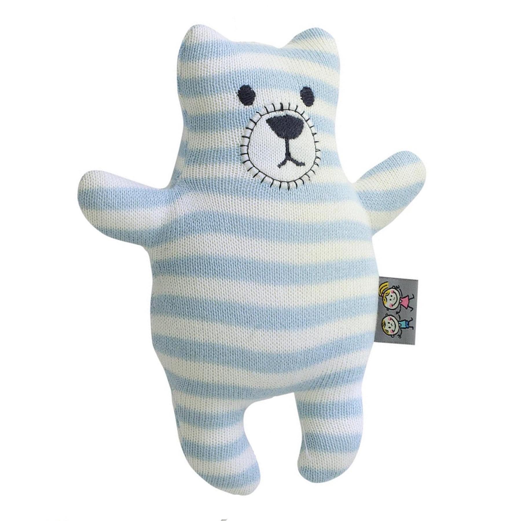 Peluche ourson en tricot bleu bébé