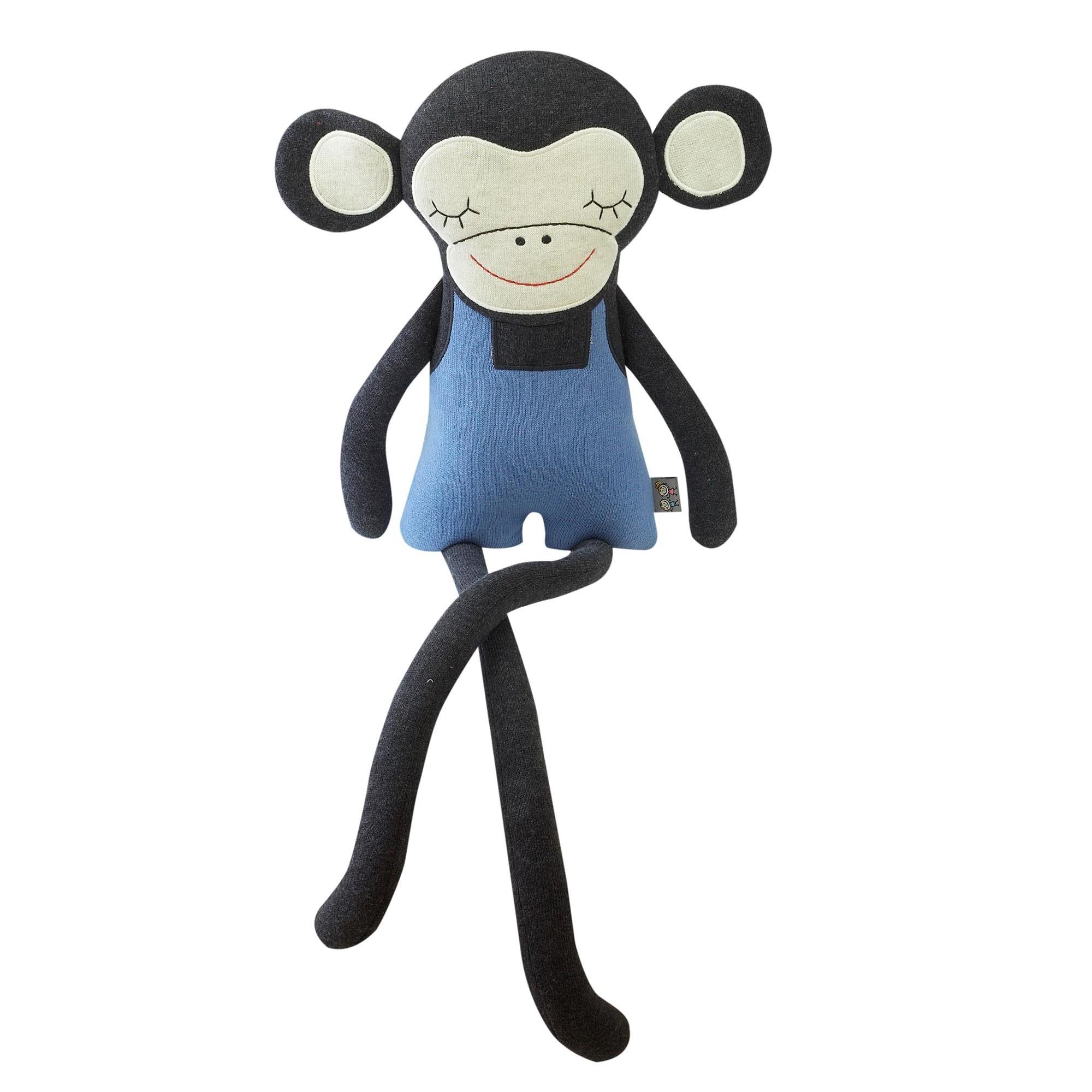 Peluche singe en coton bleu bébé