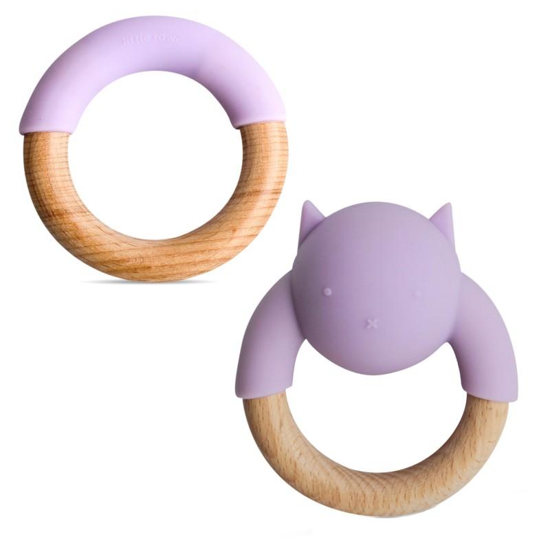 Anneaux de dentition en bois et silicone  violet bébé