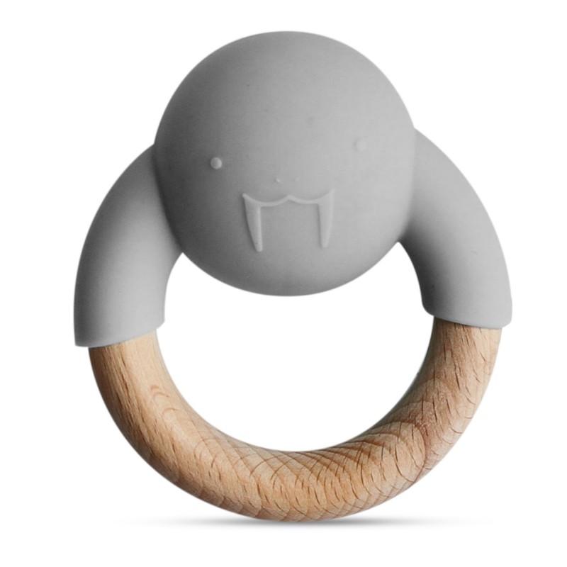 Anneau de dentition en bois et silicone  gris bébé