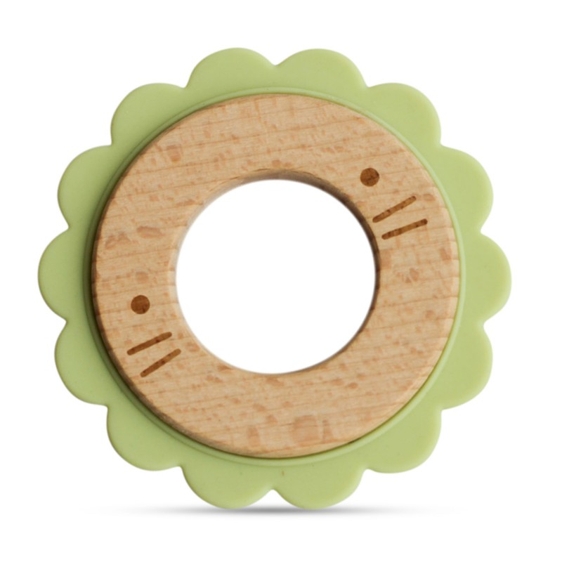 Anneau de dentition en bois et silicone vert bébé