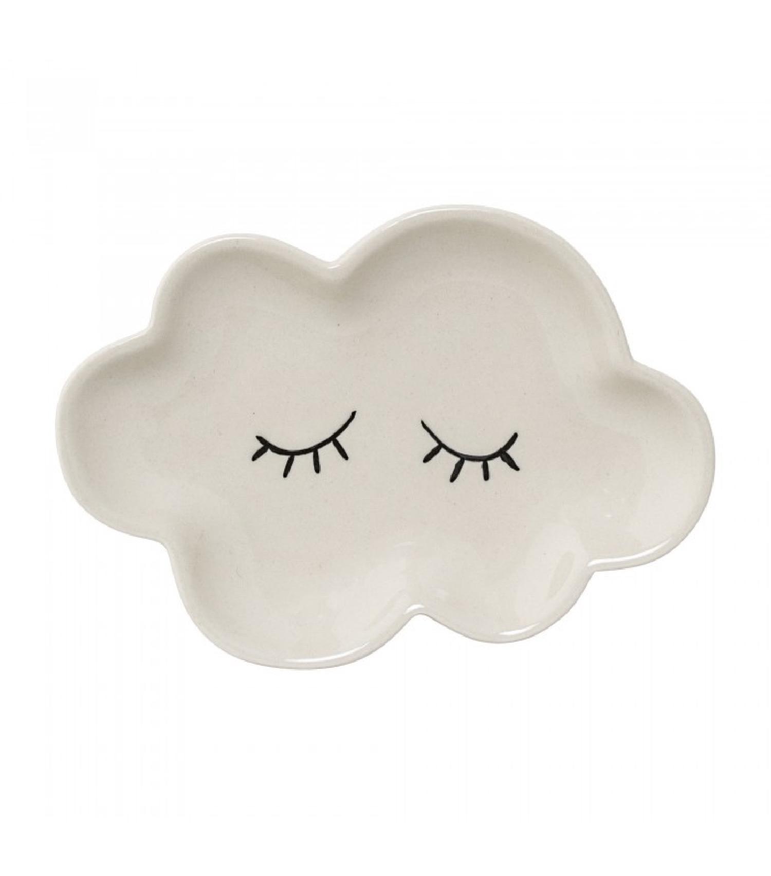 Assiette nuage grès céramique 15x11cm