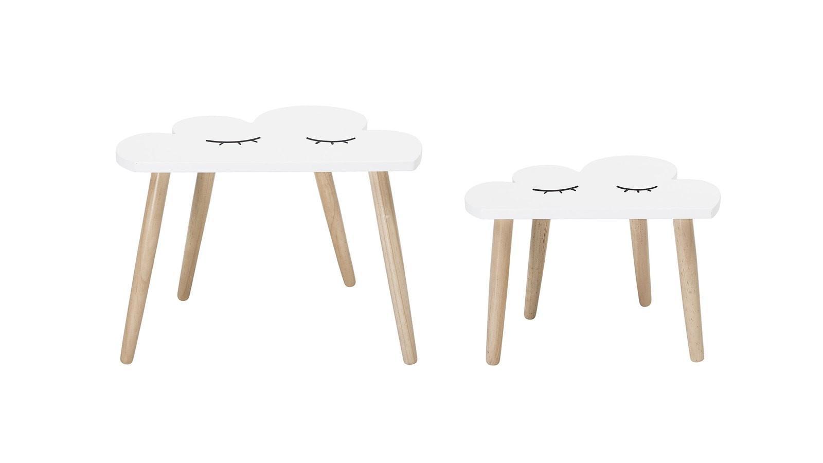 Tables nuages en bois L45/55cm - Lot de 2