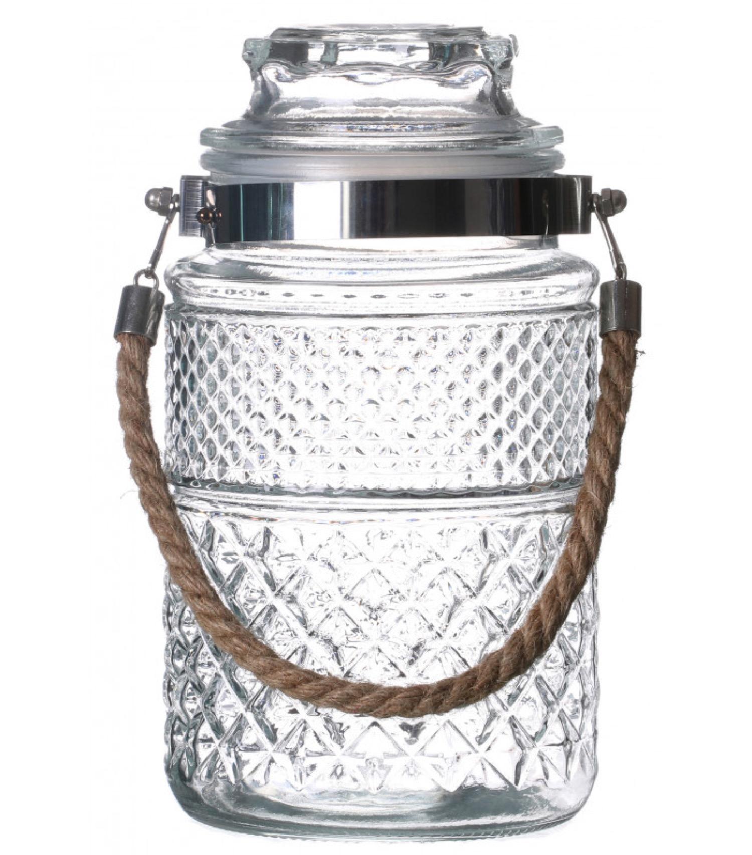 Bocal cuisine hermétique en verre avec anse en jute 1800ml