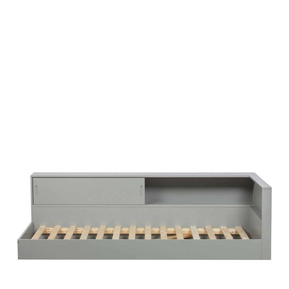 Lit 90x200 avec rangement intégré gris béton