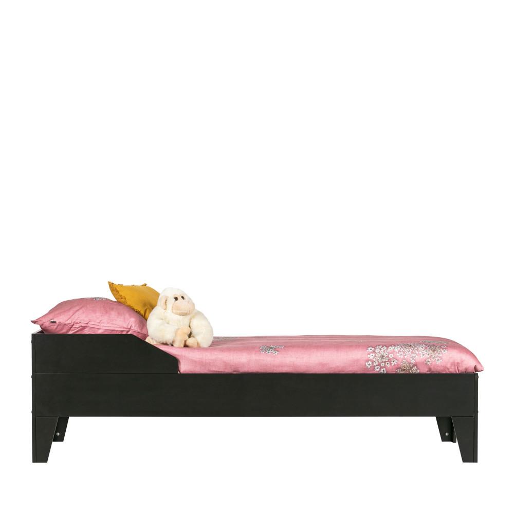 Cadre de lit pour enfant 90x200 en pin massif noir