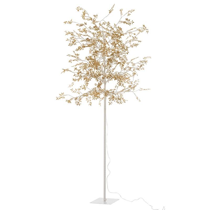 Arbre led feuilles paillettes or H180cm