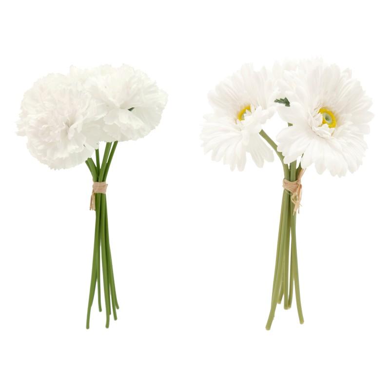 2 bouquets stand up d'oeillets et de gerberas artificiels blancs 34cm