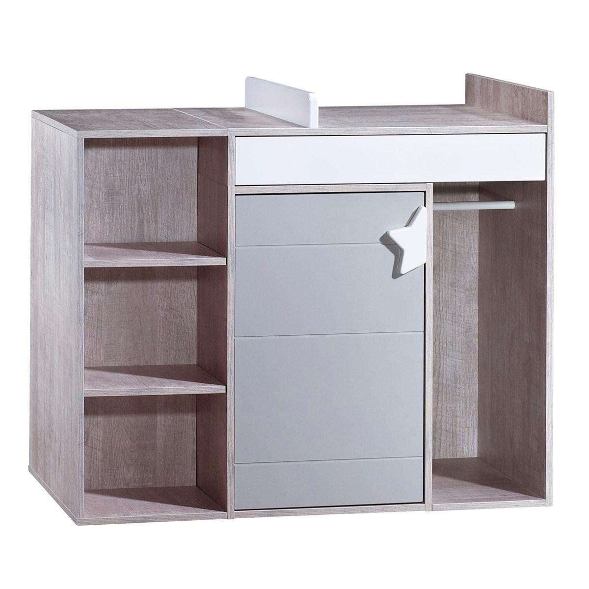 Commode à langer évolutive en bureau en bois gris