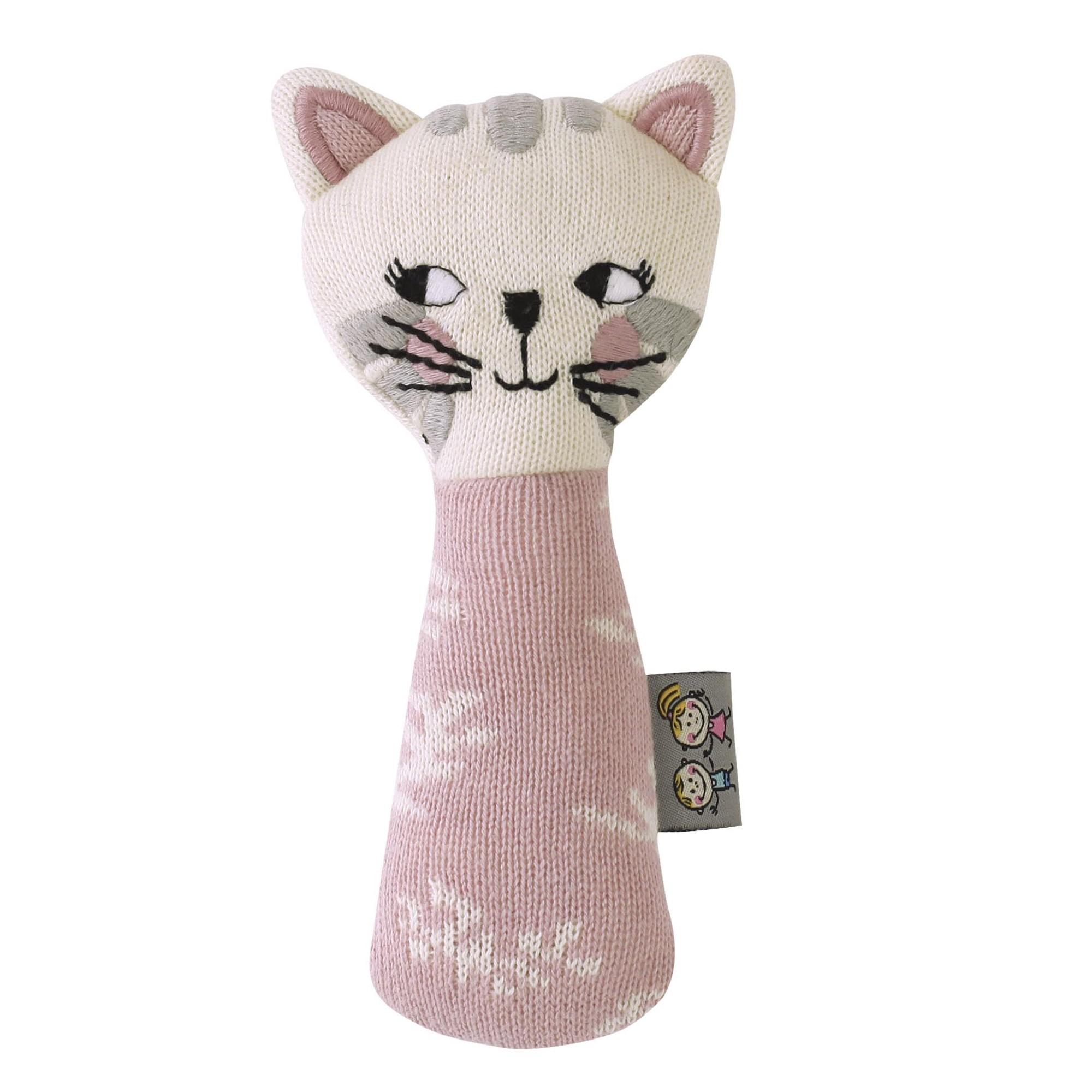 Hochet en tricot de coton rose bébé