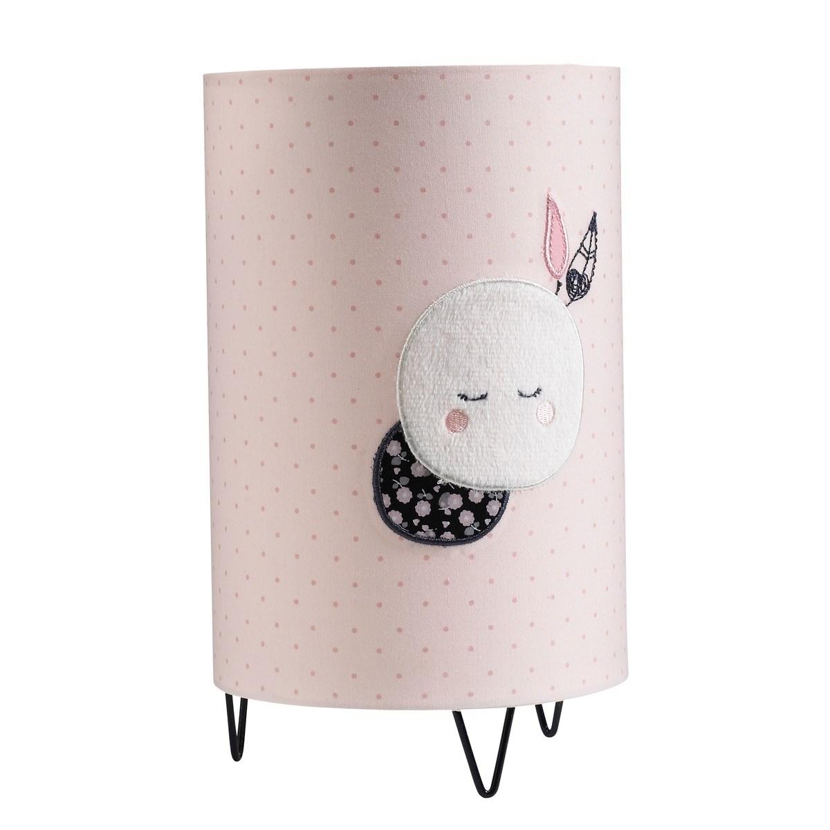 Luminaire détail lune en coton rose