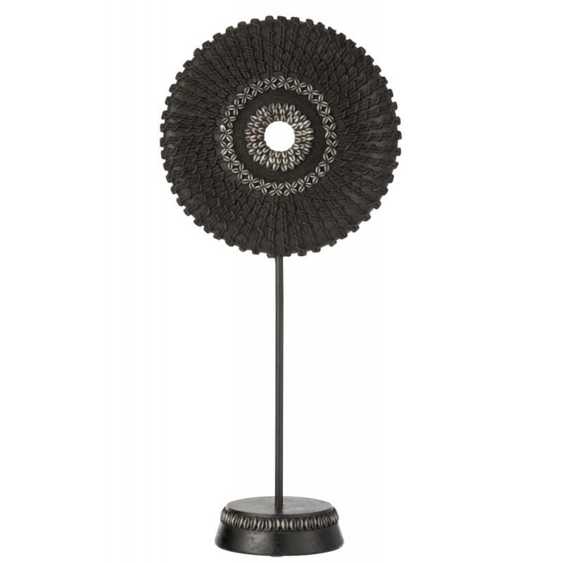 Cercle sur pied coquillage résine noir H61cm