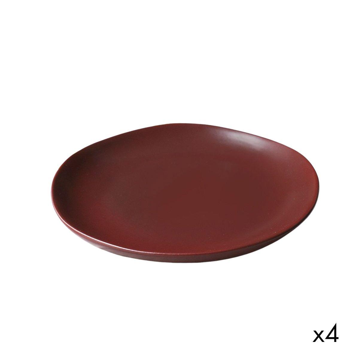 Assiette plate céramique (par 4) rouge