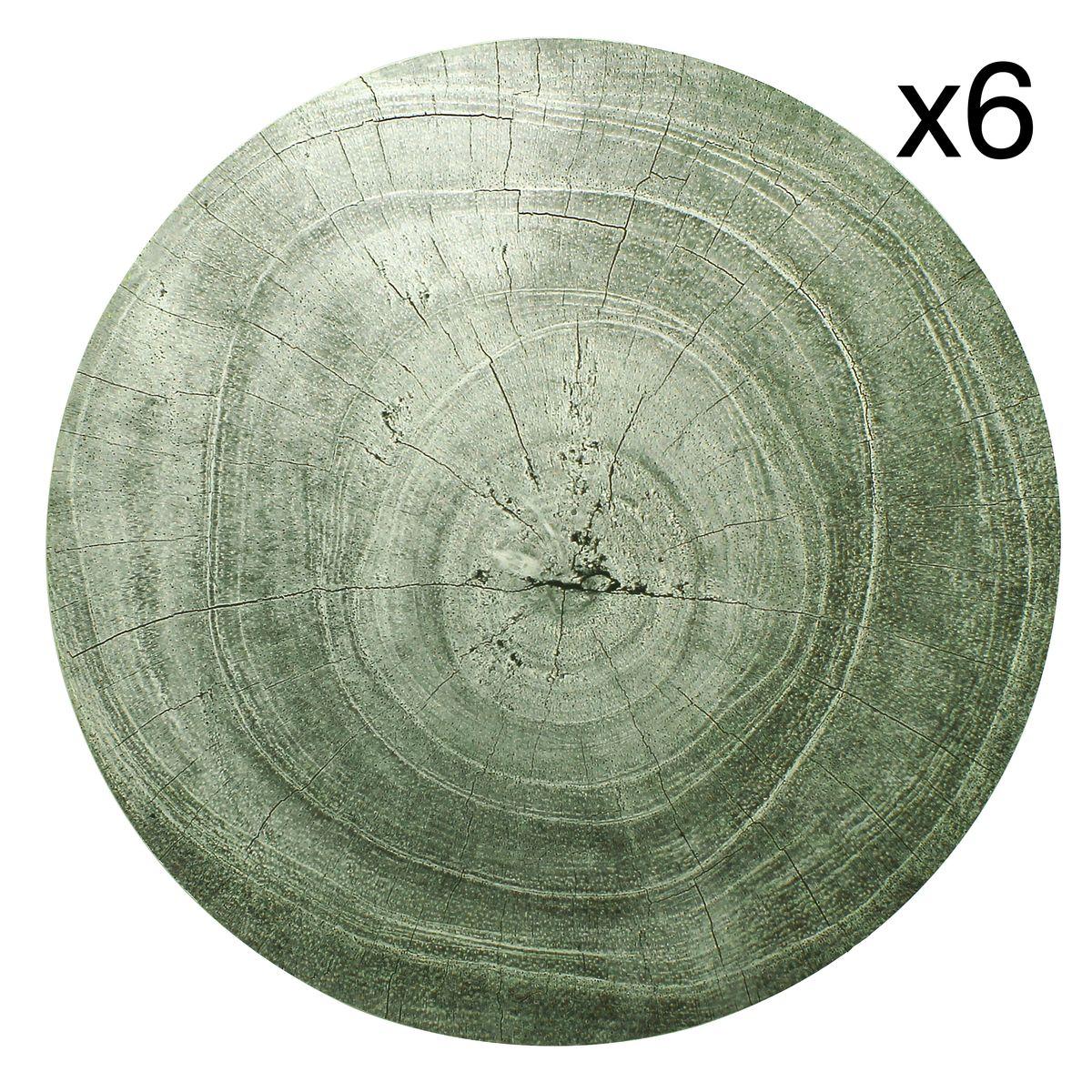 Lot de 6 sets de table effet bois gris D38cm