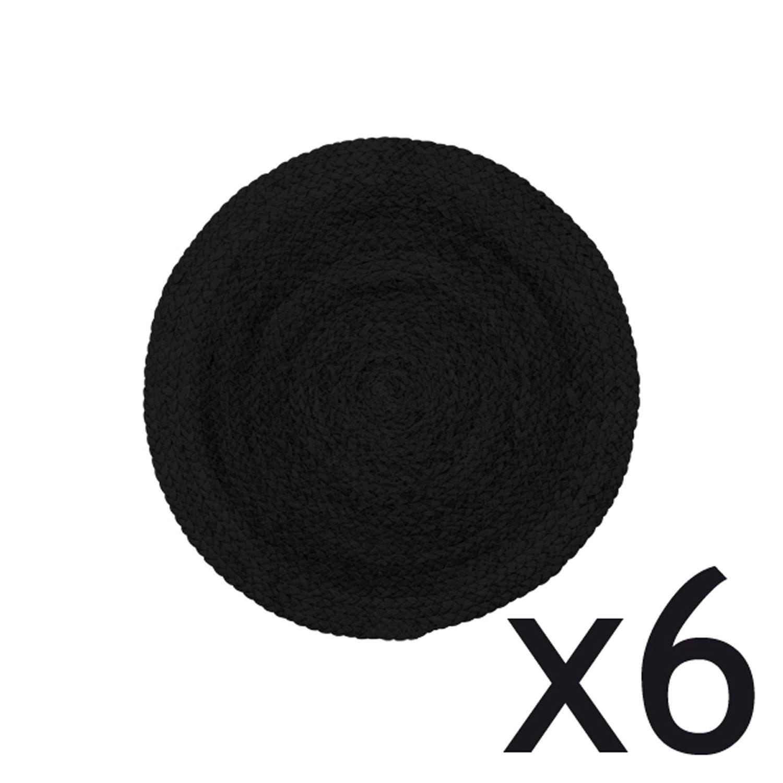 Lot de 6 sets de table noirs ronds D38cm