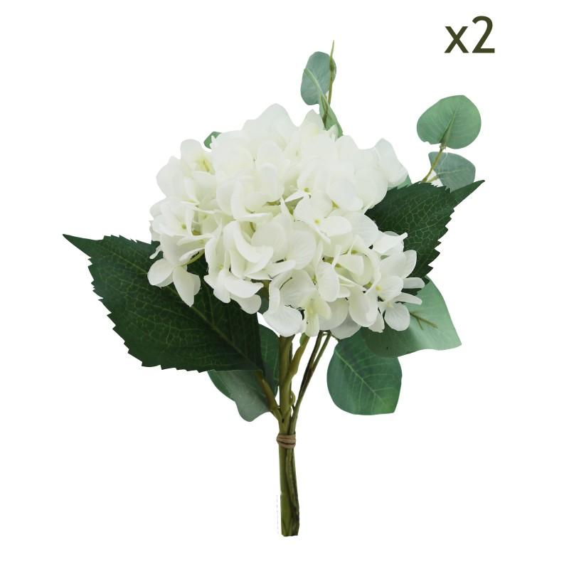 2 bouquets d'hortensias et de feuillages d'eucalyptus artificiels 29cm