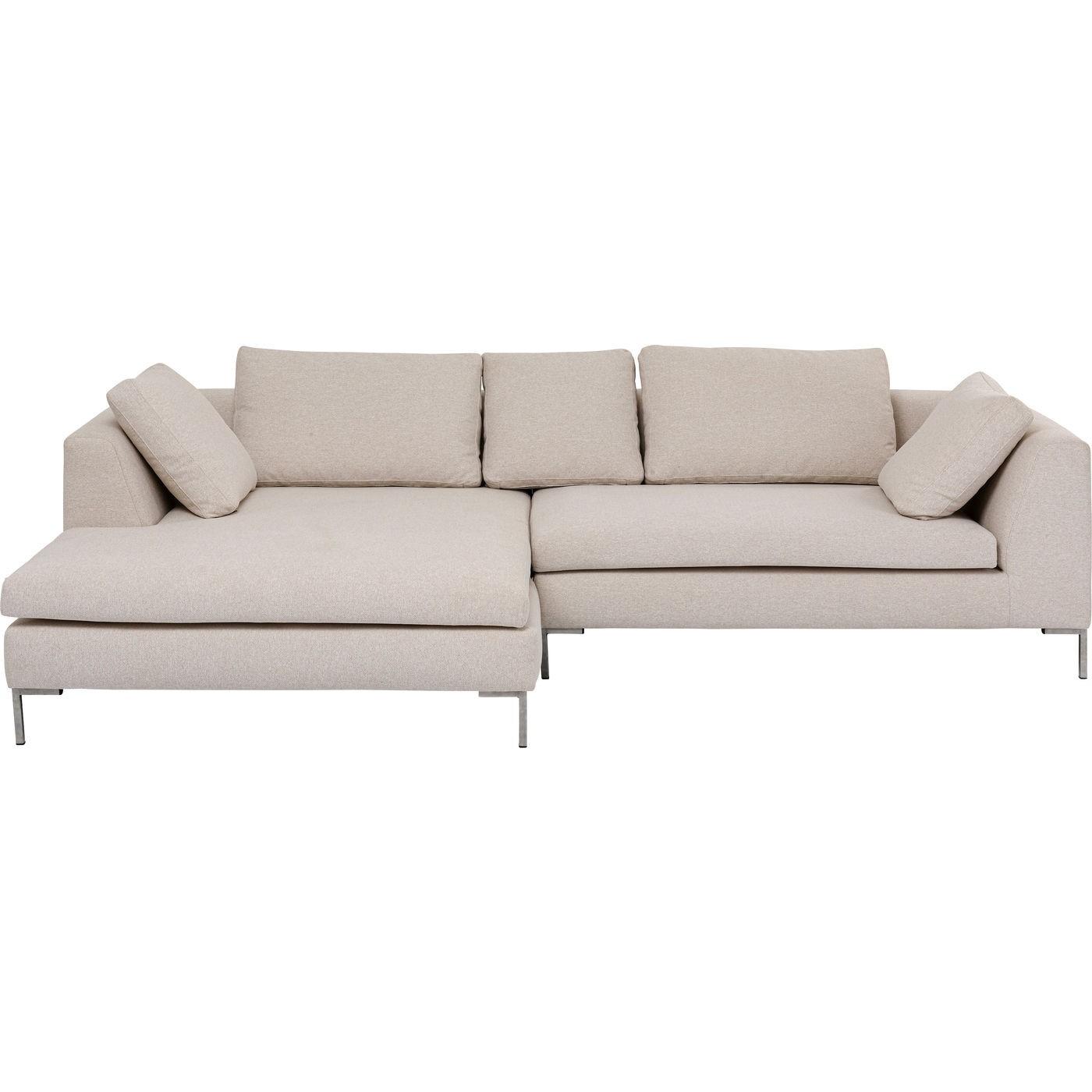 Canapé d'angle gauche 4 places en tissu crème